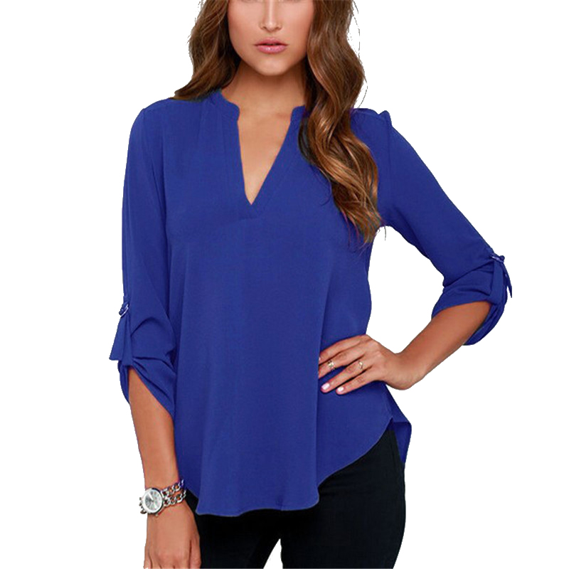 Fashion Brand Blouse Shirt V Neck Sexy Plus Size Cheap Clothes China Blusas Feminina Clothing Summer Women Tops Pullover Blouses 5