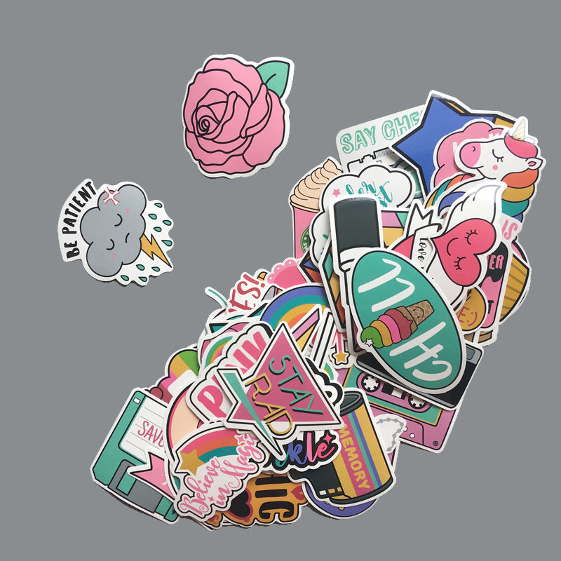 60Pcs/Pack PVC Waterproof Pink Girls Fun Lovely Stickers Toys Luggage Sticker For Moto Car & Suitcase Cool Fashion Laptop Decals
