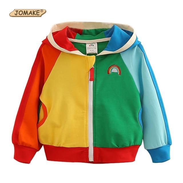 983c917ed JOMAKE New Boys Girls Jacket Children Rainbow Color Clothing Kids ...