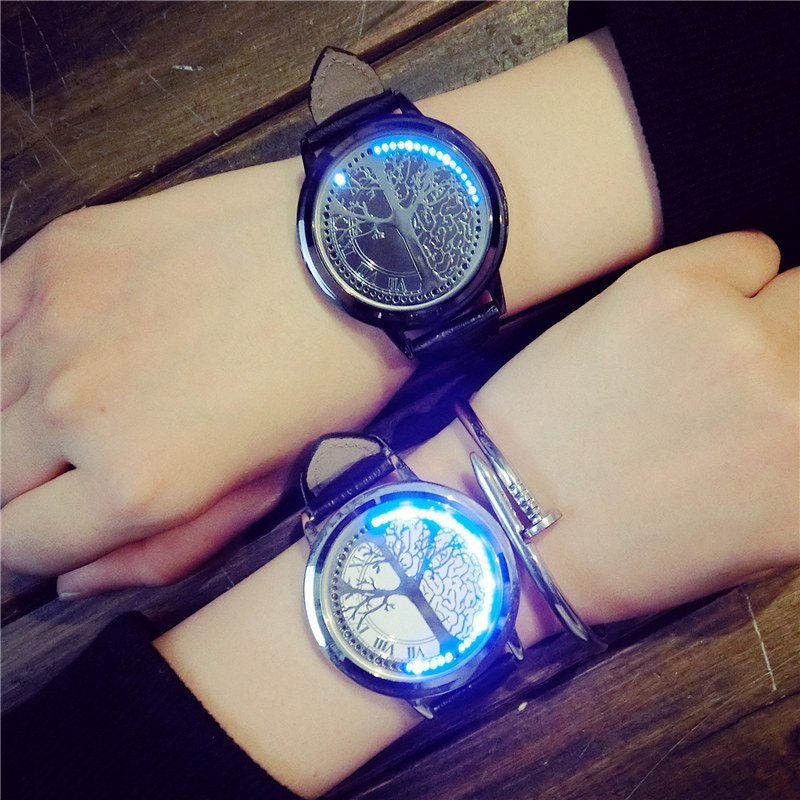 Fashion Waterproof Luminous LED Watch Men Women Couple Watches Leather Band Tree Of Life Shape Dial Digital Wristwatches relogioFashion Waterproof Luminous LED Watch Men Women Couple Watches Leather Band Tree Of Life Shape Dial Digital Wristwatches relogio