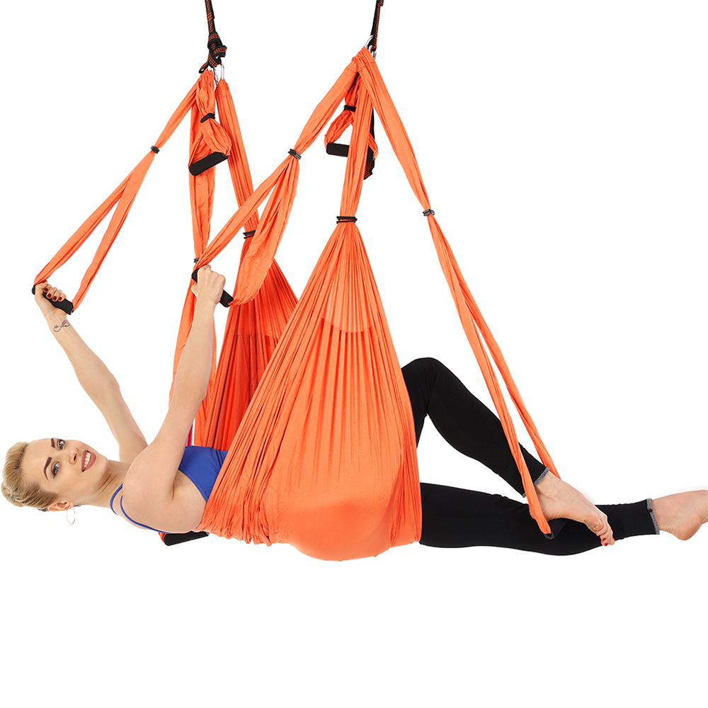 Yoga Fitness & Body Building Yoga Hammock Swing Parachute Training Sling Anti Gravity Exercise Decompression Hammock Yoga Gym Hanging Extension Strap