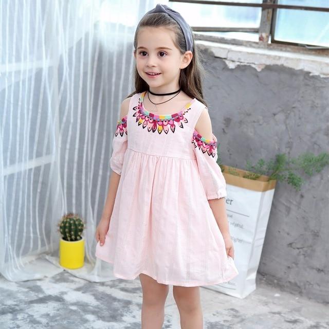 48b2bd74480 2019 Girls Cotton Dress Lipstick Print Summer Off-Shoulder Sleeve Kids  Dresses for Girl Jacquard Dress Baby Strapless Vestidos