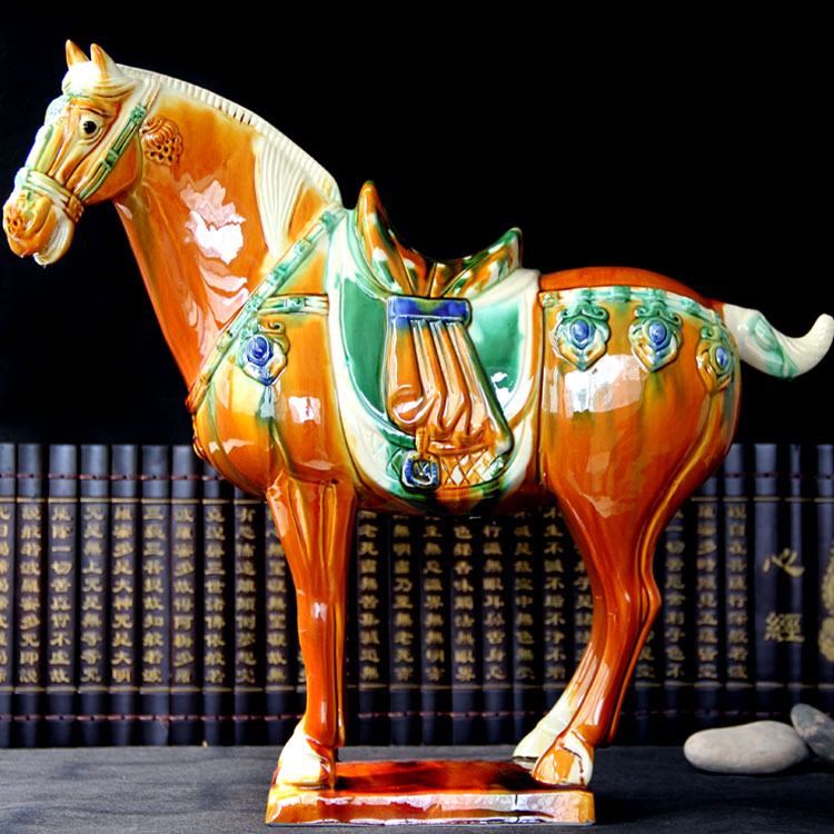 CHINA national present business- home ROOM OFFICE TOP Decor ART -RETRO TANG tri-coloured glazed pottery HORSE statue sculpture CHINA national present business- home ROOM OFFICE TOP Decor ART -RETRO TANG tri-coloured glazed pottery HORSE statue sculpture