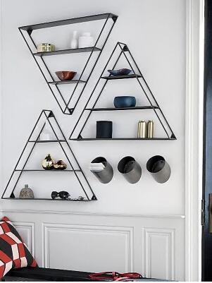 On the wall shelf. Iron art living room a word partition shelf wall hanging wall bookshelf..081