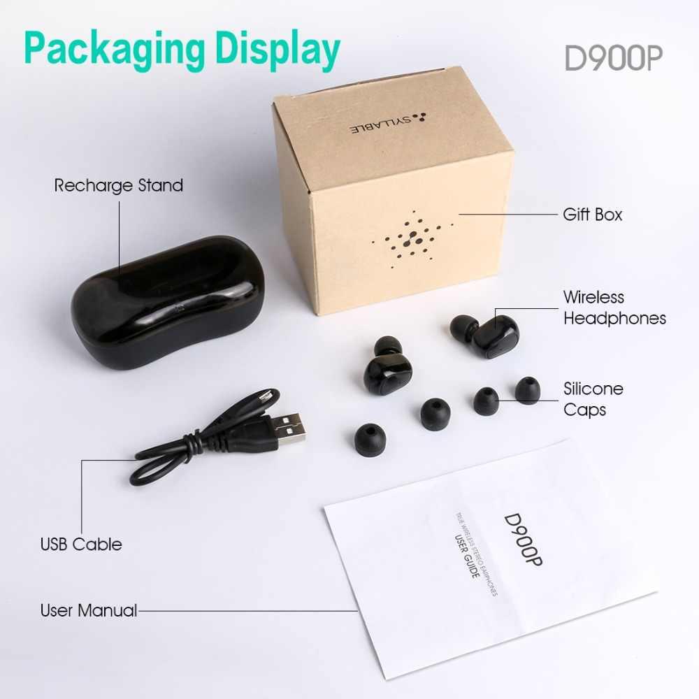 2019 sylaba D900P Bluetooth V5.0 TWS słuchawki prawdziwe bezprzewodowe Stereo D900P słuchawki sportowe 400mAh z mikrofonem do smartfonów