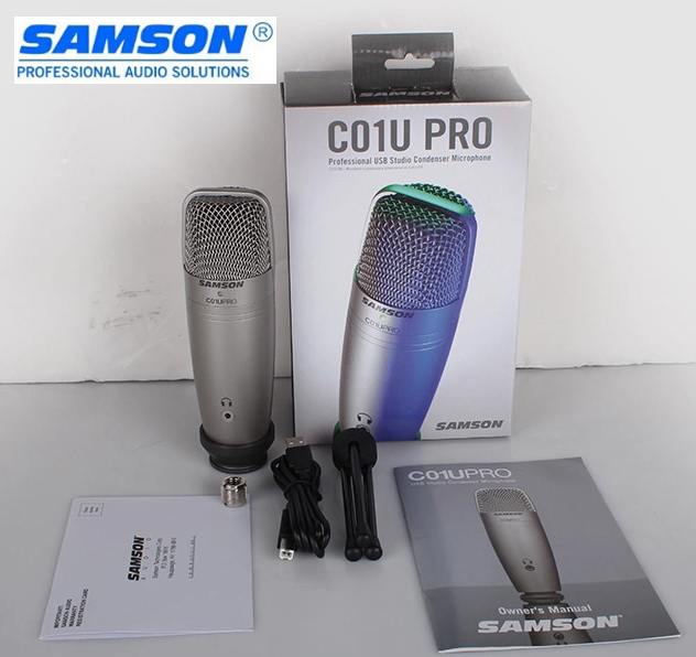 Original SAMSON C01U Pro USB Studio Condenser Microphone for recording music, ADR work, Sound Foley, audio for YouTube videos 3 5mm jack audio condenser microphone mic studio sound recording wired microfone with stand for radio braodcasting singing