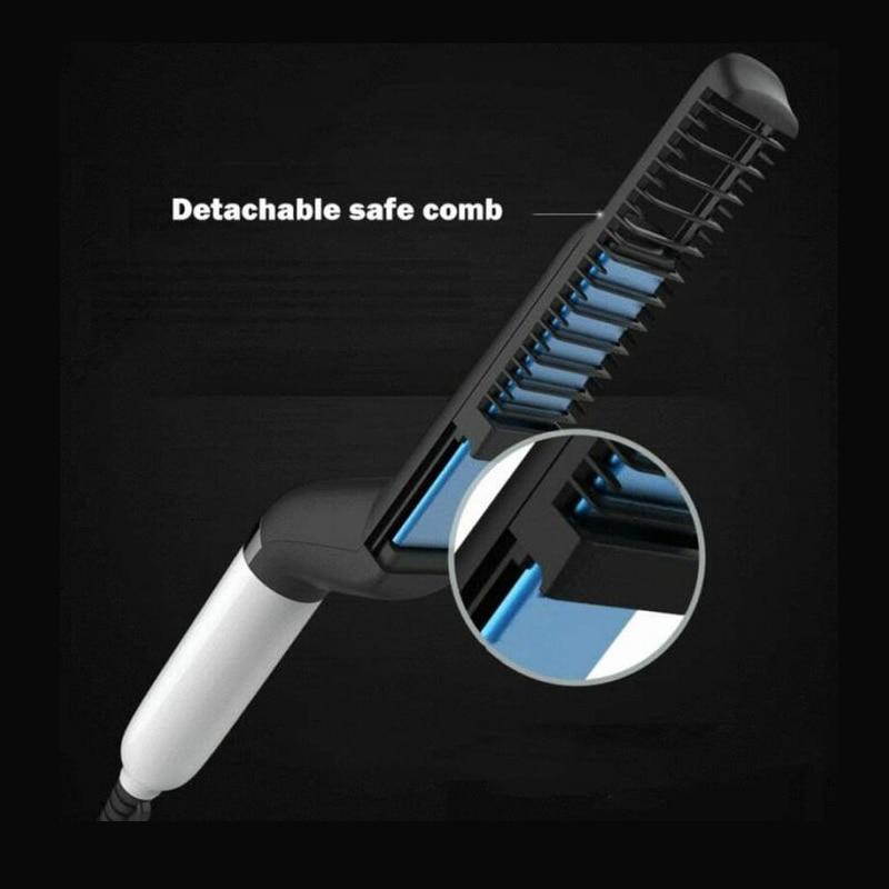 Купить с кэшбэком Beard Straightener Multifunctional Hair Comb Brush Hair Straighten Straightening Comb Hair Curler Quick Hair Style For Men