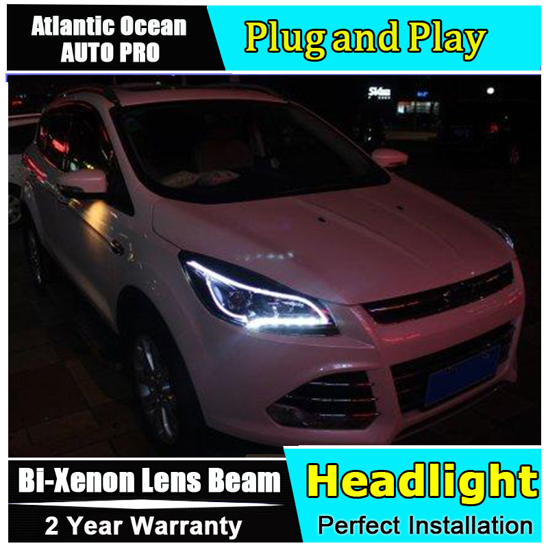 car Styling LED Head Lamp for Ford Kuga led headlights 2013 2016 For Ford Escape angel eye drl HID KIT Bi Xenon Lens low beam