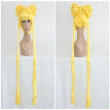 HAIRJOY Blonde Party Косплей Парик 130см Длинные хвостики Синтетические волосы Лучший!