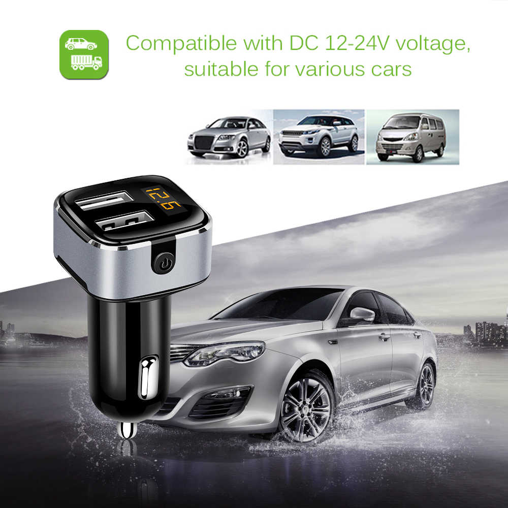 Powstro Power Switch Car Charger 3 1a 2 Usb Fast Charge Car Charger Adapter Voltmeter Current Detect With 2a Micro Usb Cable