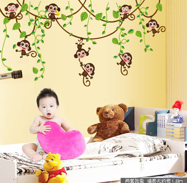 monkey tree climbing children bedroom wall stickers home decor PVC ...