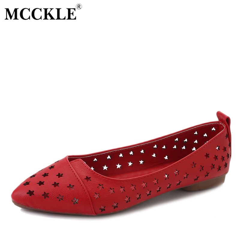 MCCKLE Women Split Leather Slip On Shallow Stars Hollow Flat Shoes Female Pointed Toe Breathable Casual Ladies Footwear