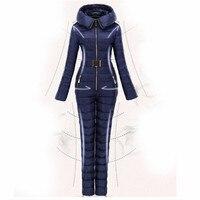 Бесплатная доставка 2018 г. новые зимние Костюмы комплект верхняя одежда Высокое качество лыжный костюм Для женщин лыжи сиамские лыжный кост
