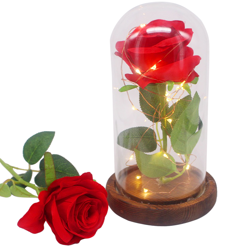Beauty And The Beast Red Rose In A Glass Dome On A Wooden Base Rose Lamp For Valentines Gifts 2 Rose Durable Modeling Artificial Decorations Artificial & Dried Flowers