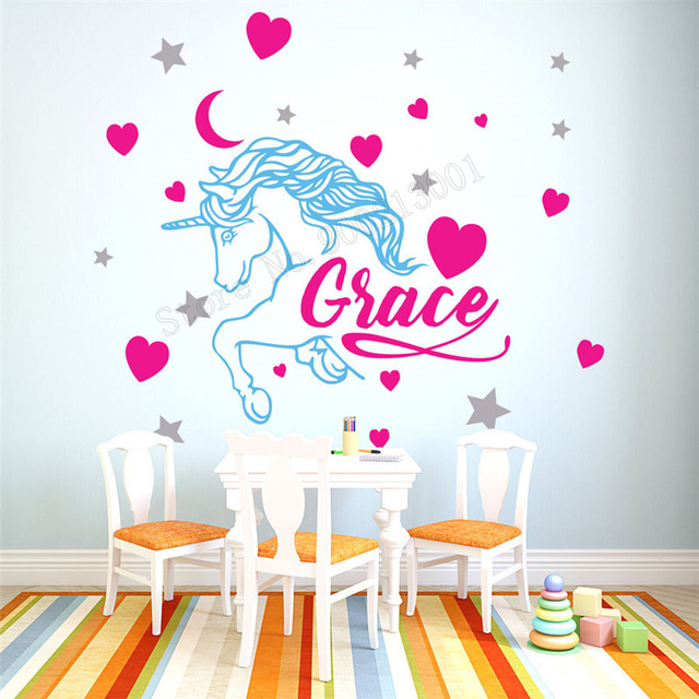 wall art sticker personalized name unicorn cute room decoration