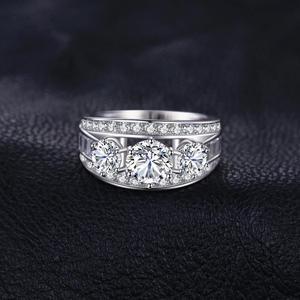 Image 3 - Bijoux palace 3 pierres CZ bague de fiançailles 925 en argent Sterling anneaux pour les femmes anniversaire anneau de mariage anneaux argent 925 bijoux