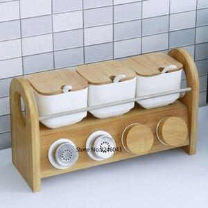 Image 1 - Đồ dùng nhà bếp Sáng Tạo Gốm Hộp Đựng Gia Vị Lọ Gia Vị Hộ Gia Đình Dầu Muối Tiêu Gia Vị Hộp Kết Hợp Bộ Dao 7 Món