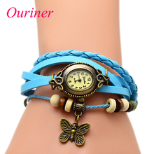 Ouriner бабочка женщин кожаный браслет женское платье часы Vintage наручные № 9