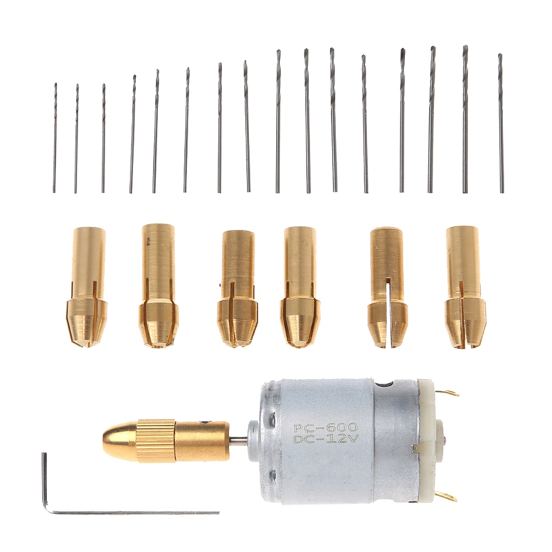 Diy-002-16 Mini Electric Hand Drill Small 12V Motor+ 0.8-1.5Mm Twist Drill Bit Rotary Tool