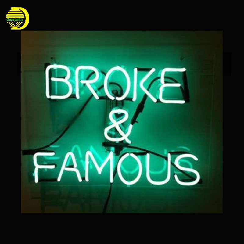 Broken & Famous Neon Sign Glass Tube Cool Neon Bulbs Sign Beer Bar Pub lighted sign Store Display neon lights Sign Clear Board