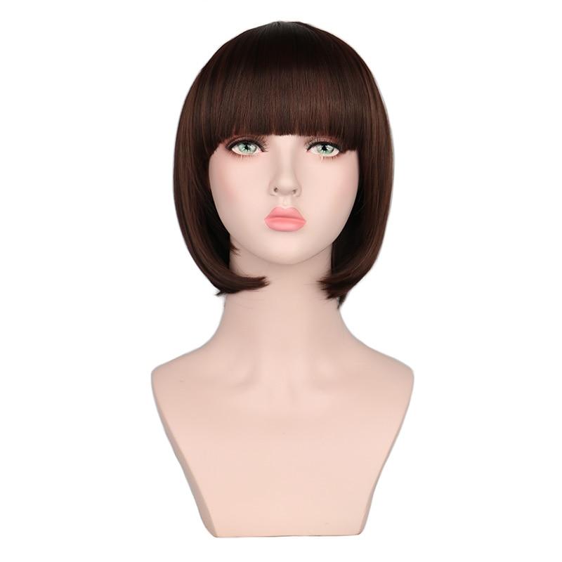 QQXCAIW 12 Short Straight Natrual Cosplay Bob Wig Women Black Dark Brown Heat Resistant Synthetic Hair Wigs