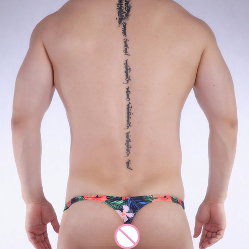 Summer Print Low Waist Briefs Sexy Swimwear Men Bikini Swimming Trunks Swimsuit Tanga Pouch Bathing Suit Swim Beach Shorts Gay