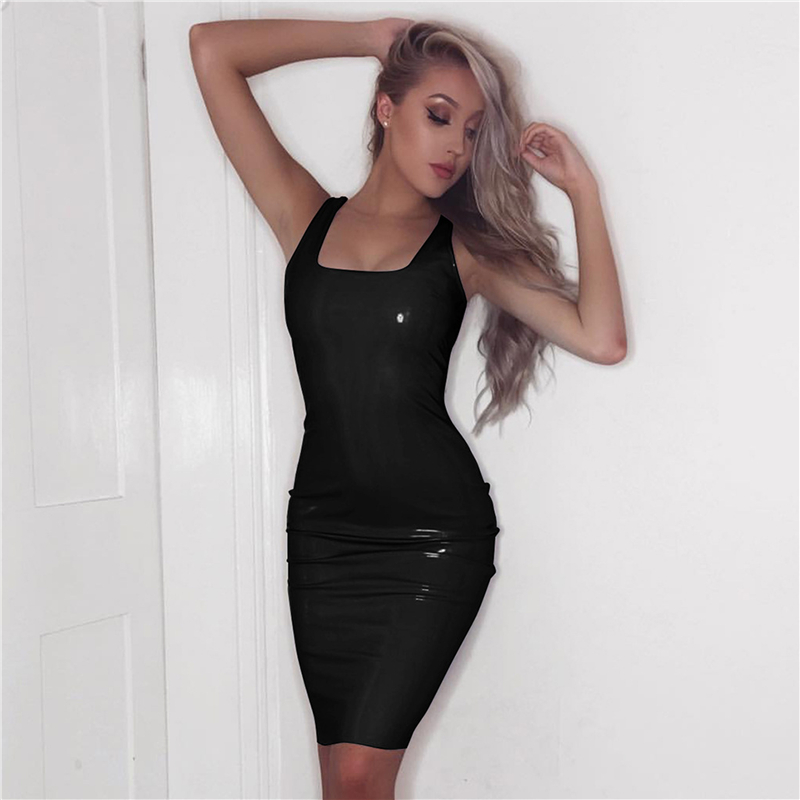 Sexy Latex Dress Black Club Faux Leather 2017 New Sexy Dress Women Sheath Sleeveless Tank Square Collar Backless Party Dresses