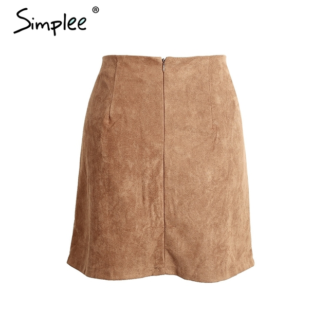 Simplee Lace up cross suede leather pencil skirt High waist lining skirt womens Zipper bodycon sexy short mini skirt summer