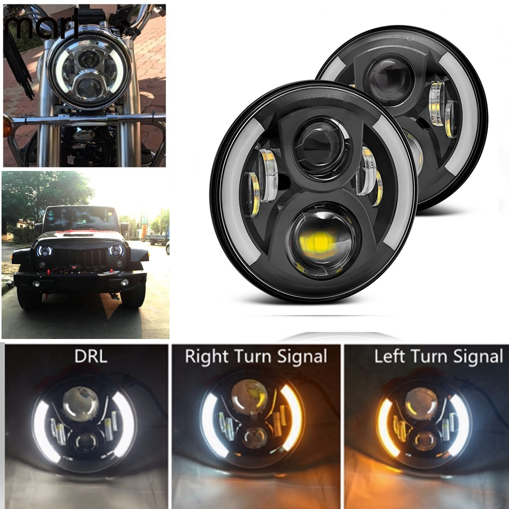 Marloo 7 Inch Round LED Headlight Hi/Low Beam Halo Left Right Turn Signal Angle Eyes For Jeep Wrangler JK LJ TJ CJ 1997-2018 whdz 1pc round 7inch 75w round led headlight hi low beam head light with bulb drl for jeep wrangler tj lj jk cj 7 cj 8 scrambler