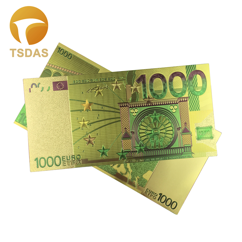European Commemorative Gold <font><b>Banknote</b></font> 10pcs/lot, Colored <font><b>1000</b></font> <font><b>Euro</b></font> Gold Foil <font><b>Banknote</b></font> Collections image