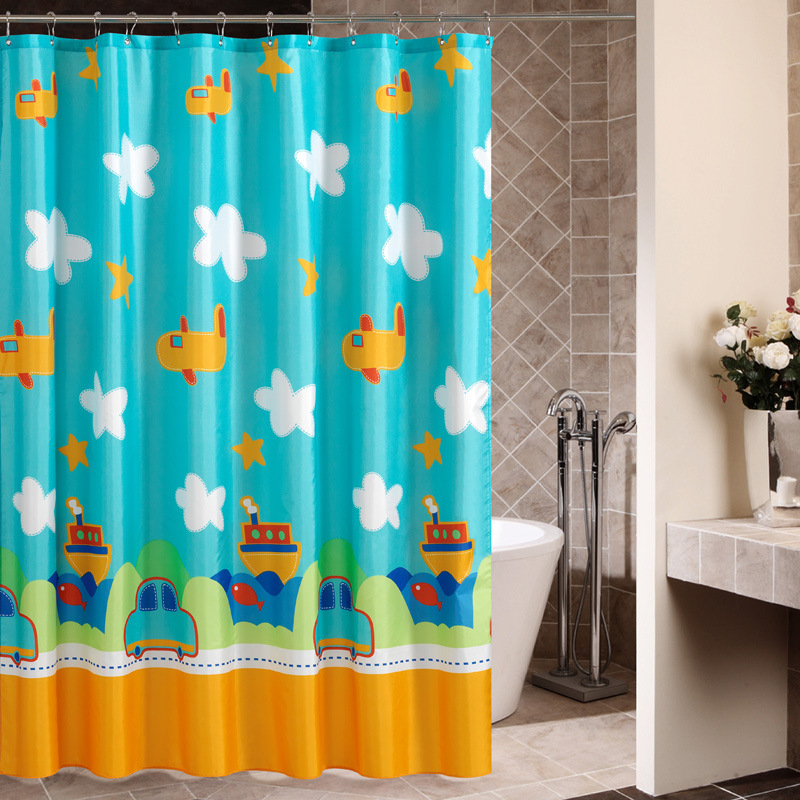 Cartoon Car Airplane Bathroom Curtain Waterproof Shower 12 Hooks 180cm X In Curtains From Home Garden On Aliexpress