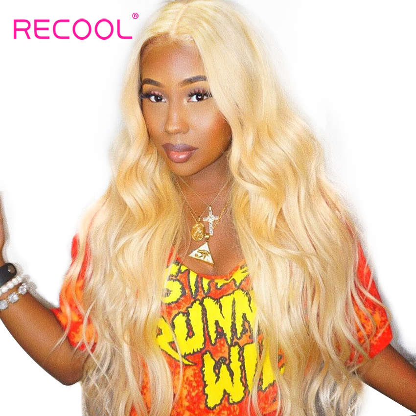 Recool 613 Blonde Lace Front Wig 13x6 Lace Front Human Hair Wigs Brazilian Body Wave HD Transparent Lace Frontal Wig Pre Plucked-in Human Hair Lace Wigs from Hair Extensions & Wigs    1