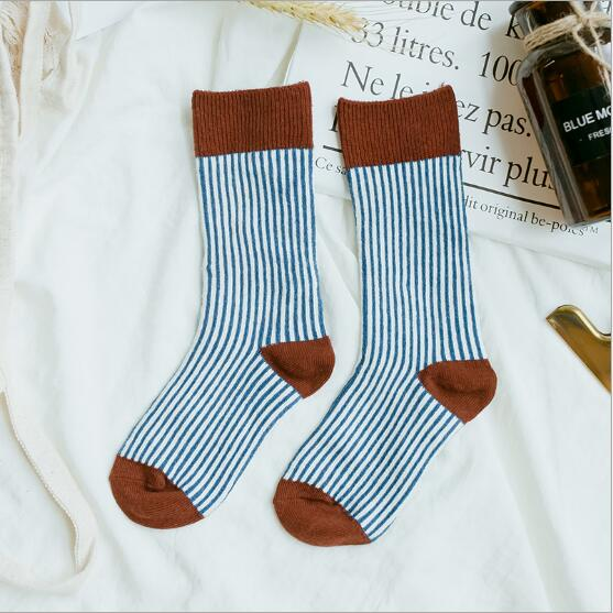 Combed cotton kids stockings spring autumn children vertical strip color matching Luokou stockings 5