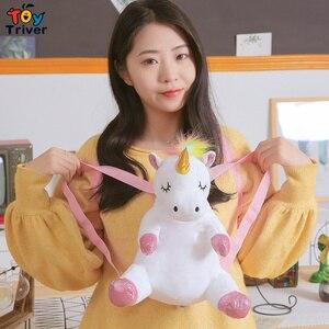 Image 2 - Cute Kawaii Unicorn Backpack School Shoulder Bag Bookbag Plush Toy Triver Baby Kids Children Girl Boy Girlfriend Student Gift