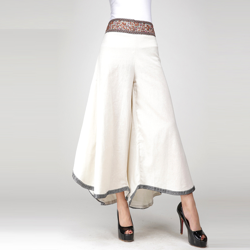 Woman Summer Hot Sale Solid High Full Length   Pants     Wide     Leg     Pants   Female Spring Fall Beaded Irregular Flax Loose Trousers