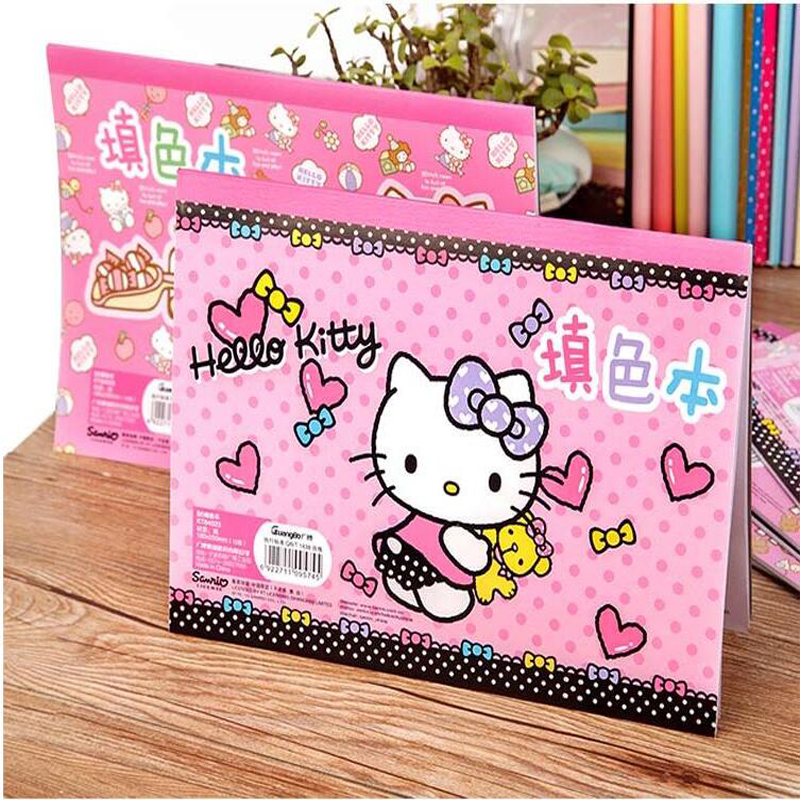 Novel Lovely Hello Kitty Painting Paper Child Painting Supplies Coloring Book Office School Supplies Gift Graffiti Picture Book