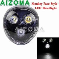 Emark Streetfighter Motorcycle Monkey Face LED Headlight Universal Custom Front Mount Headlamp For Kawasaki Honda Triumph Norton