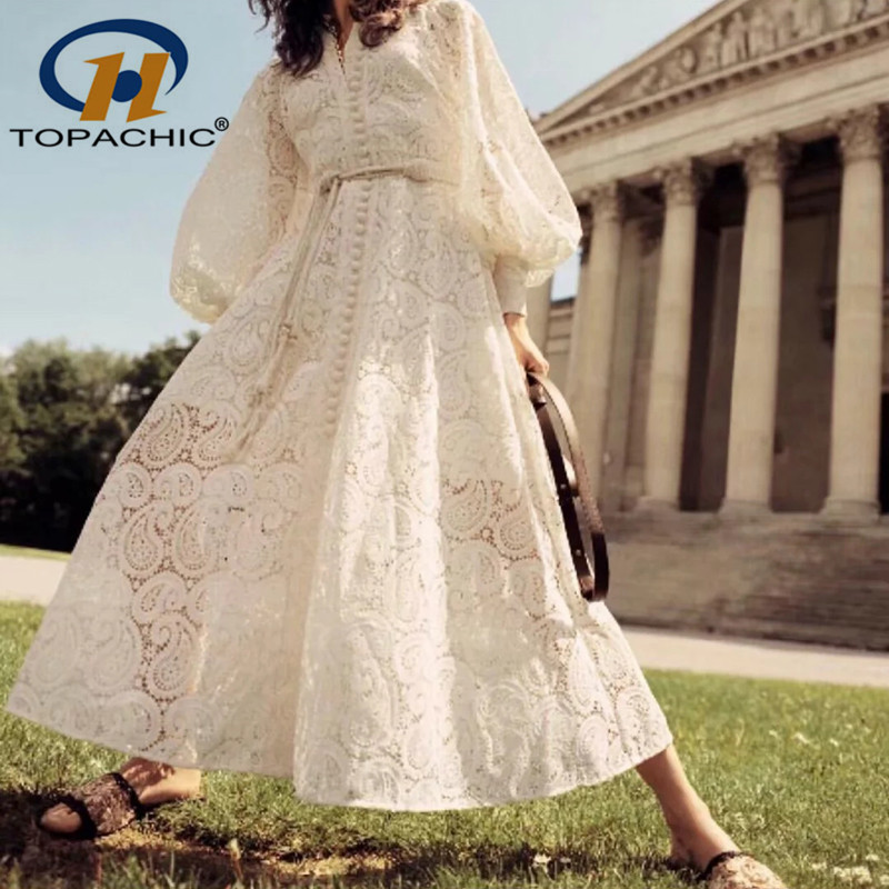 6 25 quality fashion Bohemian female Stand collar Lantern Sleeve Sashes Lace Hollow Out Mid Calf