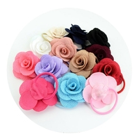 13Pcs Girl Elastic Hair Band Rope Rose Flower Ponytail Holder Accessories Color Random delivery
