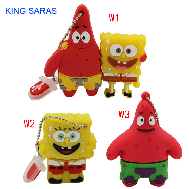 KING SARAS Cool Cute SpongeBob Usb Flash Drive Usb 2.0 4GB 8GB 16GB 32GB  Pendrive 64GB Usb Stick