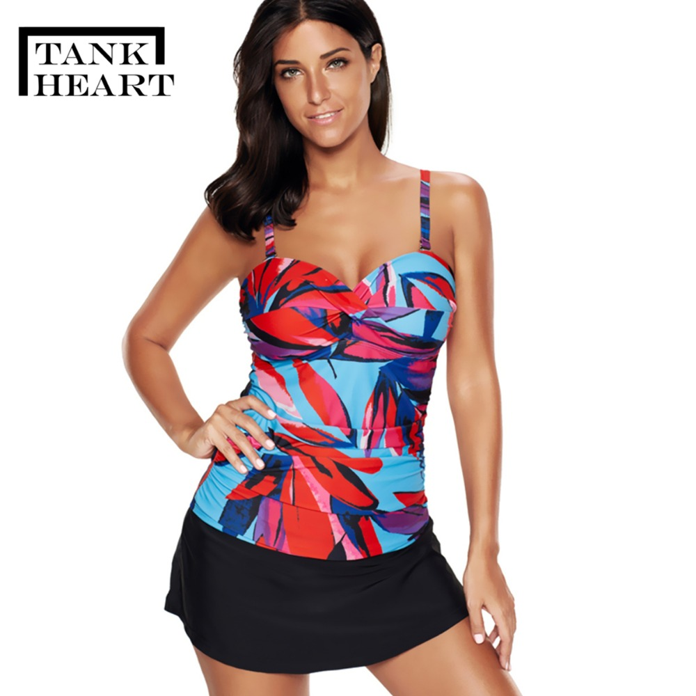 Badpak Fashion.Tank Heart Vintage Tankini Swimsuits Women Biquini Plus Size Swimw