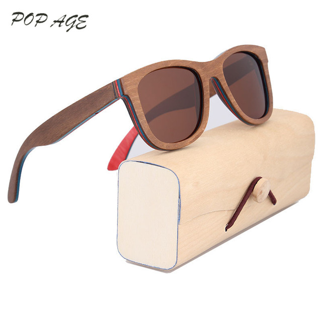 88f45468b9 Brown Skateboard Wood Sunglasses Women Retro Sunglasses Men Luxury Brand  Polarized Vintage Wooden Glasses Brands Eyewear