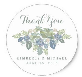 1.5inch Succulent Bouquet Floral Wedding Thank You Sticker