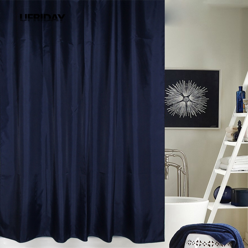 UFRIDAY Dark Blue Shower Curtain Eco-friendly Waterproof Mold Proof Solid Bathroom Curtains with Hooks Home Decor High Quality