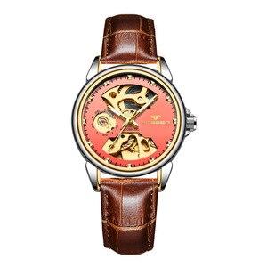 Image 4 - 2019 luxo feminino relógio mecânico automático relógio de negócios senhoras relógios à prova dwaterproof água oco rosa mecânico relógio para presente feminino