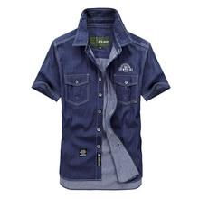 Männer Große Größe M-5XLBlue Denim Shirts Homme Kurzarm Hemd afs jeep markenhemden mens beiläufige cowboy kleidung 100% baumwolle 5008