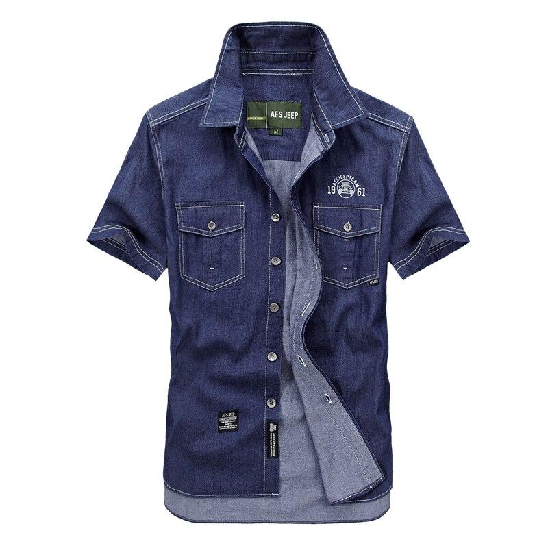 Men Big Size M-5XLBlue Denim Shirts Homme Short Sleeve Shirt Brand Shirts Mens Casual Cowboy Clothes 100% Cotton 5008