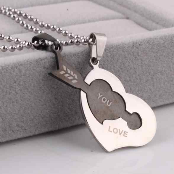 free shipping Lovers heart arrow love you pendant necklaces bead chain for men women 316L Stainless Steel necklace wholesale