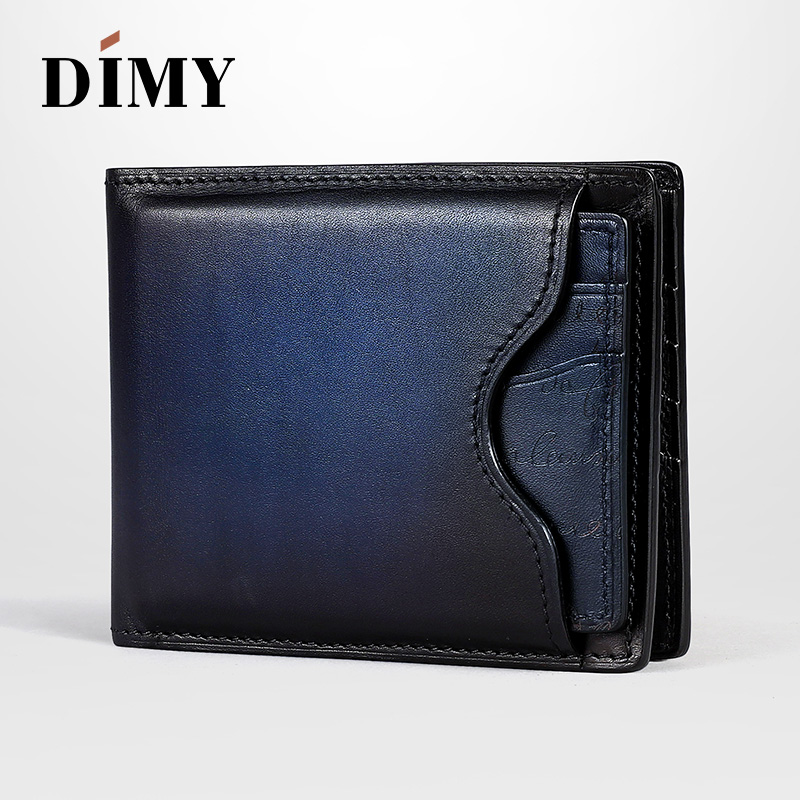 Dimy Blocking Men Wallets Vintage Cow Genuine Leather Men's Purses Male Carteira Masculina Dollar Price Coin Purse Short Wallet cowather 100% top quality cow genuine leather men wallets fashion splice purse dollar price carteira masculina original brand