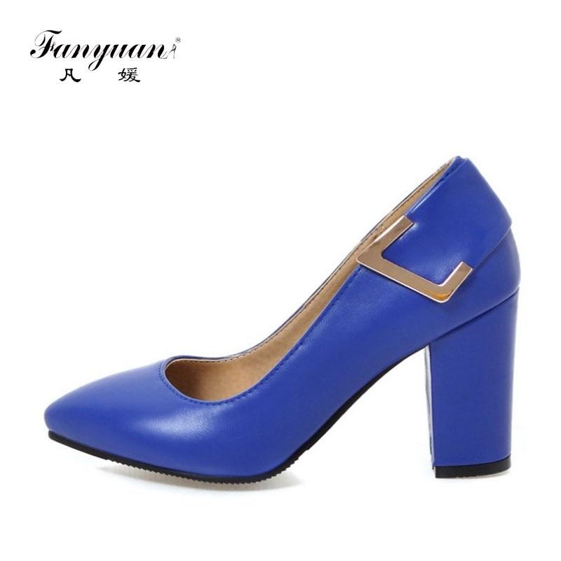 ФОТО Fanyuan 2017 Women Pumps Spring Autumn Elegant Working Shoes Slip-on High Heels Metal Decor Pointed Toe Pumps Black Blue Shoes